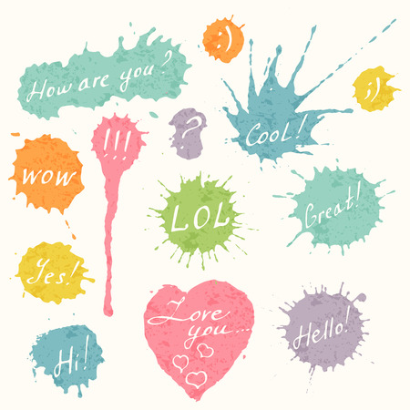 wow: Set of hand drawn short messages placed on the colorful ink splashes, blots and heart. How are you, cool, LOL, Great!, WOW, Hello!, Hi!, I love you  etc.