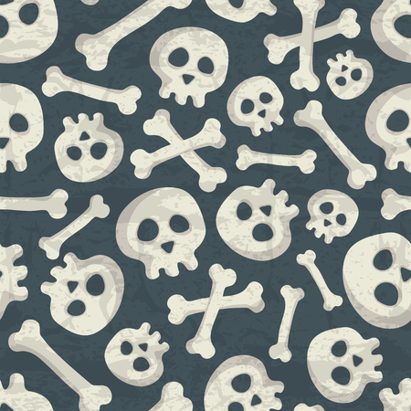Halloween seamless pattern with spooky skulls and bones on a dark blue background. Desaturated muted colors (dark blue, off-white) with a grunge texture. Comic skeletons for childish design