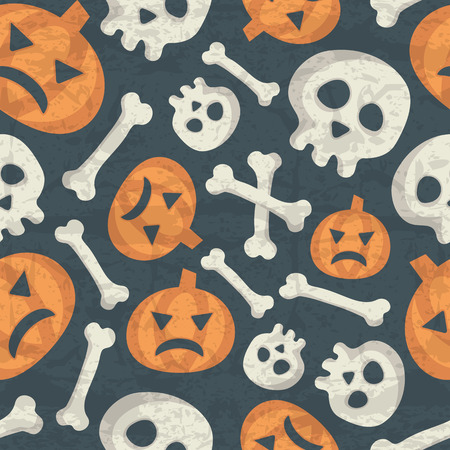 desaturated colors: Halloween seamless pattern with spooky pumpkins, bones and skulls on a dark background. Desaturated colors (dark blue, off-white, orange) with a grunge texture. Comic backgriund for childish design Illustration