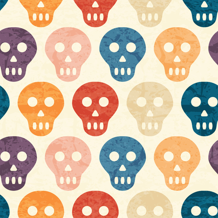 cranium: Abstract seamless pattern with grunged colorful polka dots on a off-white background. Lovely color palette. Endless backdrop for wrapping, packaging, textile and interior decoration