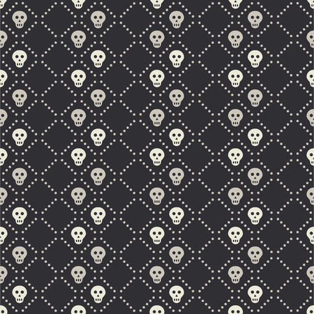 blackandwhite: Vector seamless pattern with small white skulls and dotted lines on a black background. Minimalistic black-and-white endless backdrop with death symbols