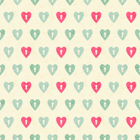 turquise: Vector seamless pattern with heyhole hearts. Romantic color palette (bright pink balanced by turquise on a off-white background). Minimalistic design and grunge texture