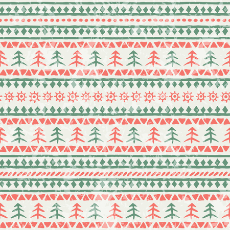 Christmas seamless pattern with xmas trees and geometric ornament. Primitive ethnic (tribal) style with hand drawn ornament. Red and green palette with a grunge texture