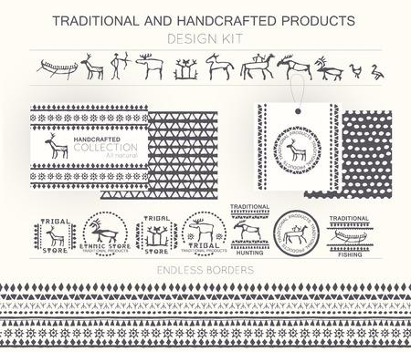 hombre prehistorico: Kit de diseño tradicional y productos artesanales con insignias tribales, plantillas de logotipo y fronteras infinitas. Monocromo. Dibujado a mano de estilo étnico (pintura europea de la cueva) Vectores