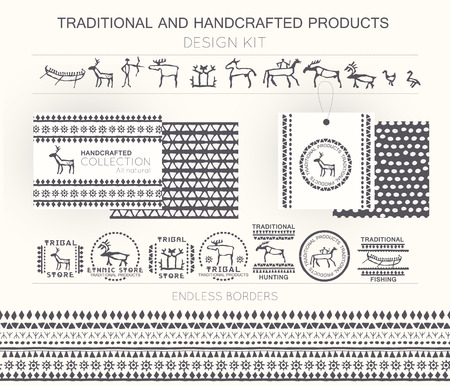 bowman: Traditional and handcrafted products design kit with tribal badges, logo templates and endless borders. Monochrome. Hand drawn ethnic style (European cave painting) Illustration