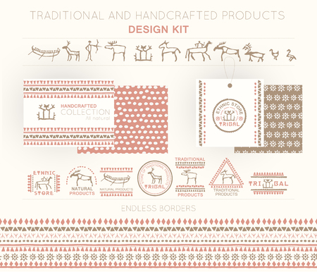 Traditional and handcrafted products design kit with tribal badges,   templates and endless borders. Soft colors (pink, brown). Hand drawn ethnic style (European cave painting)