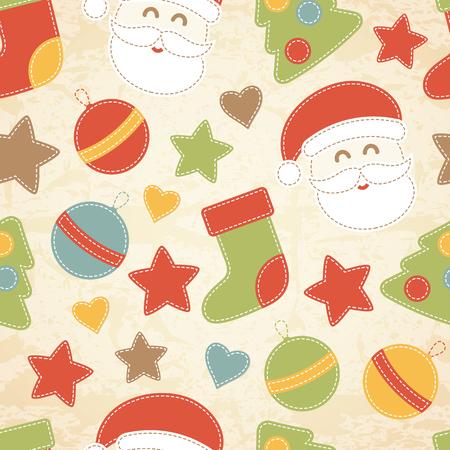 pere noel: Childish pattern de Noël avec le Père Noël, boules de Noël, arbres de Noël et des bas décorés par des étoiles et des coeurs. éléments de style cousu main avec coutures blanches.