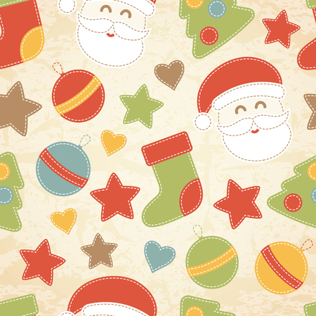 Childish Christmas seamless pattern with Santa Claus, Christmas baubles, Christmas trees and stockings decorated by stars and hearts. Hand-sewn style elements with white seams. Illustration