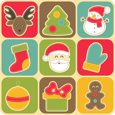 white stockings: Set of vector Christmas icons in a childish cute style with white seams. Xmas tree, reindeer, stockings, mittens, snowman, Santa Claus, Christmas ball, present, gingerbread man Illustration
