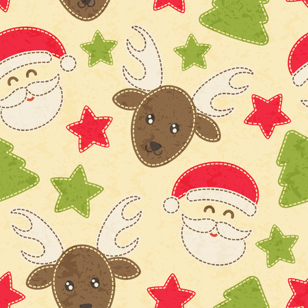 sewn: Childish Christmas seamless pattern with Santa Claus, Christmas trees and baby reindeer decorated by stars. Hand-sewn style elements with white seams. Bright and happy color palette.
