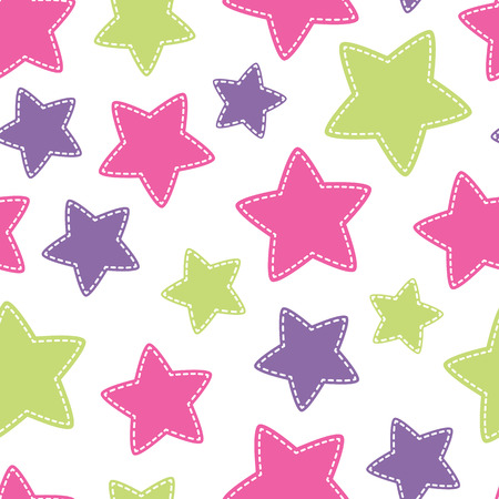 star pattern: Childish Christmas seamless pattern with colorful stars. Hand-sewn style elements with white seams.  Bright and happy color palette.