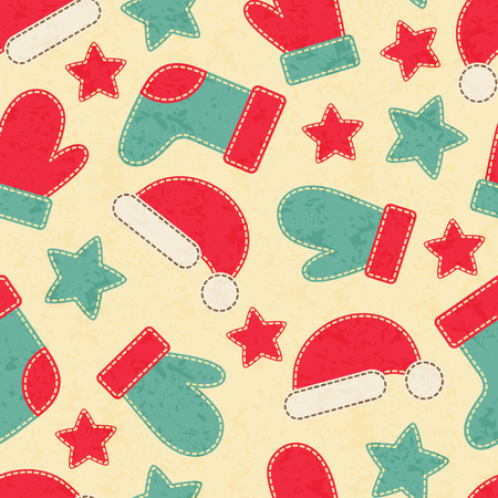 white stockings: Childish Christmas seamless pattern with Christmas stockings, mittens and hats decorated by stars. Hand-sewn style elements with white seams. Bright and happy color palette.