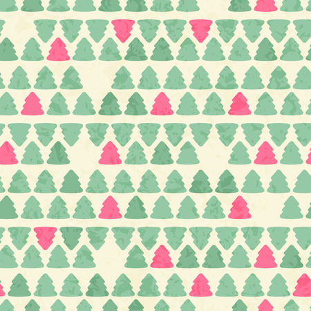 sea green: Vector seamless pattern with simple fir tree silhouettes. Lovely color palette - bright pink balanced by sea green on a off-white background. Minimalistic design and grunge texture