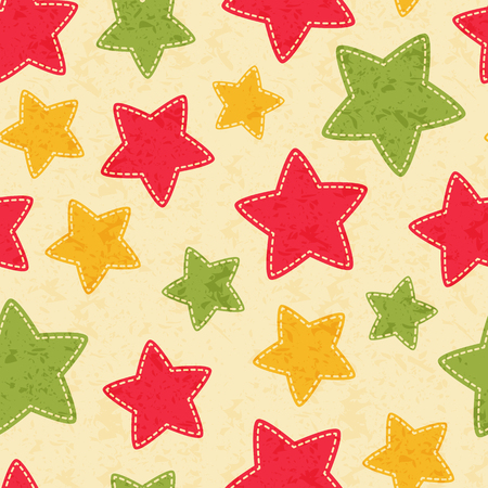 Childish Christmas seamless pattern with colorful stars. Hand-sewn style elements with white seams.  Bright and happy color palette.