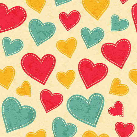 babyish: Childish seamless pattern with red, yellow and blue hearts. Hand-sewn style elements with white seams. Bright and happy color palette.