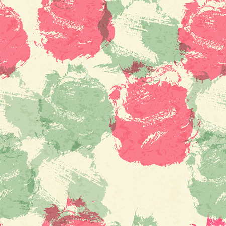 sea green: Fashionable seamless pattern with large sloppy stains and smears forming stylized rose flowers. Pastel color palette with pink and sea green. Perfect texture for consumer industry design