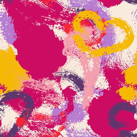 interior decoration: Colorful seamless pattern with large stains and smears. Saturated ruby rose, pink, yellow and purple spots.  Perfect texture for consumer industry design, interior decoration etc Illustration