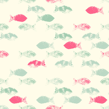 sea green: Vector seamless pattern with fishes (Grunge Ink Stamp). Pastel color palette with pink and sea green. Stylish texture for consumer industry design, interior decoration etc