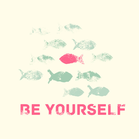 rough sea: Be Yourself. Motivation Vector illustration with the outstanding fish. Individuality symbol