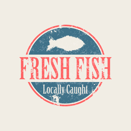 fresh fish: Vector fish stamp (locally caught fresh fish). Industrial badge in a grunge style