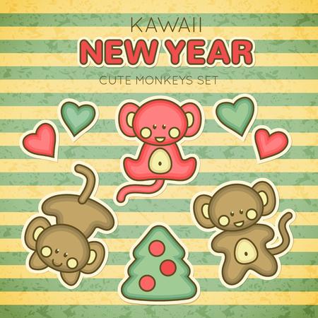 babyish animal: Kawaii New Year Monkey set. Set of design elements for babies - three little monkeys with Christmas tree and hearts.
