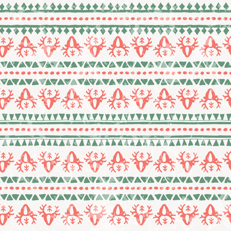 Winter seamless pattern with reindeer and geometric ornament. Primitive ethnic (tribal) style with hand drawn ornament. Read and green palette with a grunge texture