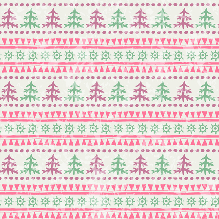 Winter seamless pattern with firs (or xmas trees) and geometric ornament. Primitive ethnic (tribal) style with hand drawn ornament. Purple and turquise palette with a grunge texture