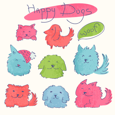 longhaired: Set of colorful hand drawn characters. Happy dogs.