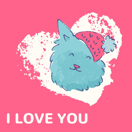 a charming: Colorful hand drawn card with a cute dog. I love you. Charming illustration for valentines and consumer industry design
