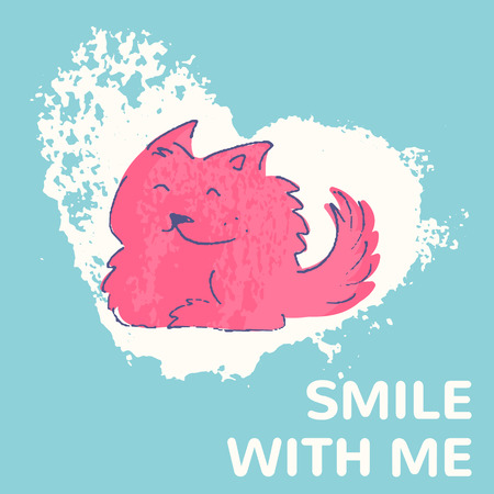 charming: Colorful hand drawn card with a cute dog. Smile with me. Smiling dog. Charming illustration for consumer industry design Illustration