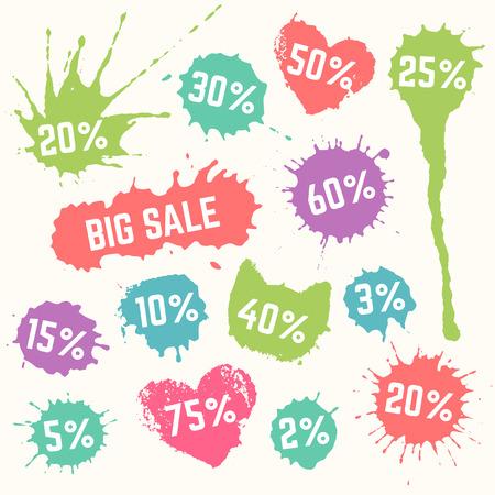 Bunte Big Sale Symbole. Große Verkaufsmarken mit 2-75 Prozent Text auf den Tintenklecks Aufkleber. Frühlings-Rabatt-Etiketten.