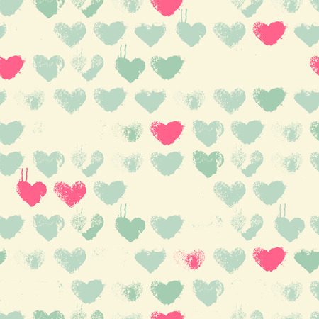 interior decoration: Seamless pattern with grunge hearts (Ink Stamp). Pastel color palette with pink and sea green. Romantic texture for consumer industry design, interior decoration etc Illustration