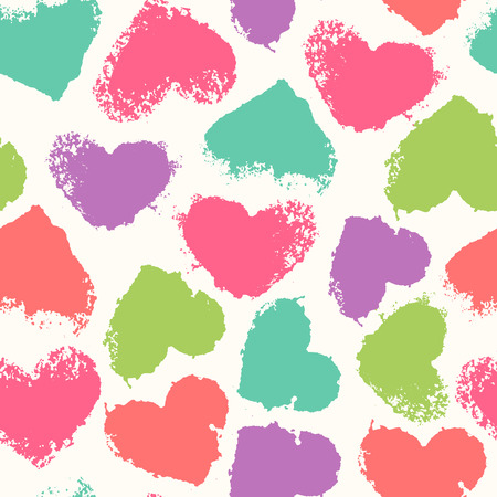 saturated color: Seamless pattern with grunge colorful hearts. Saturated and happy color palette. Romantic texture for consumer industry design, interior decoration, valentines day etc