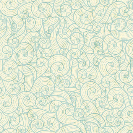 sea green: Seamless pattern with sea green spiral waves on a off-white background. Pastel color palette Illustration