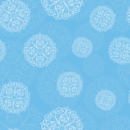 skyblue: White snowflakes on a blue background. Winter seamless pattern