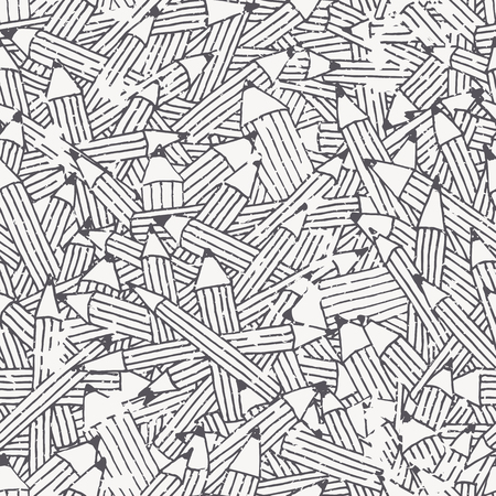 Seamless pattern with black and white pencil ornament with irregular structure. Easy to edit and change colors