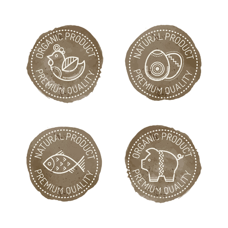 chicken meat: Set of 4 Food Badges for organic (natural) products - chicken, pork, eggs, fish. Original design - stylized dark brown stamp with a white text and linear style pictures. Premium quality Illustration