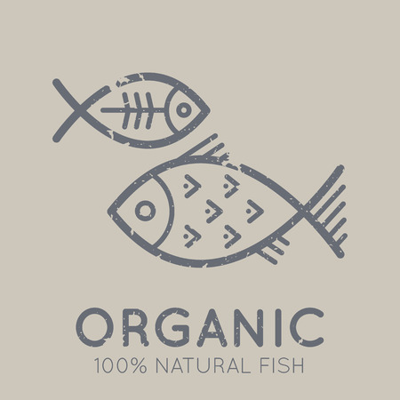 nutritional: Nutritional emblem with fish in flat linear ethnic style on a tan background. 100 percent  natural organic meat. Grunge texture
