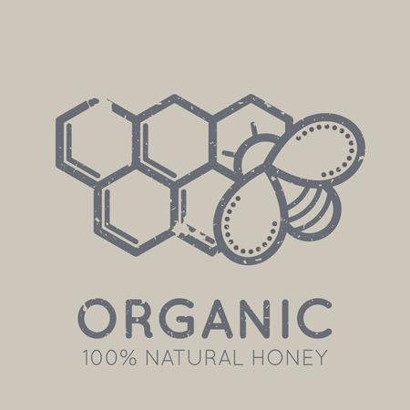 黄褐色の背景に平面線形のエスニック スタイルで蜂のセルのミツバチと養蜂のエンブレム。100% 自然なオーガニックの肉。グランジ テクスチャ