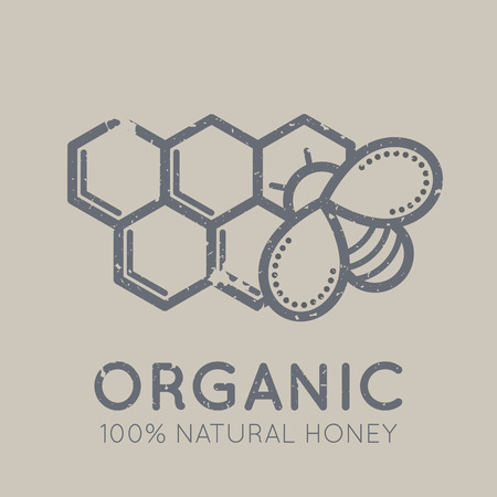 Beekeeping emblem with a honey bee on a bee's cells in flat linear ethnic style on a tan background. 100 percent  natural organic meat. Grunge texture Illustration