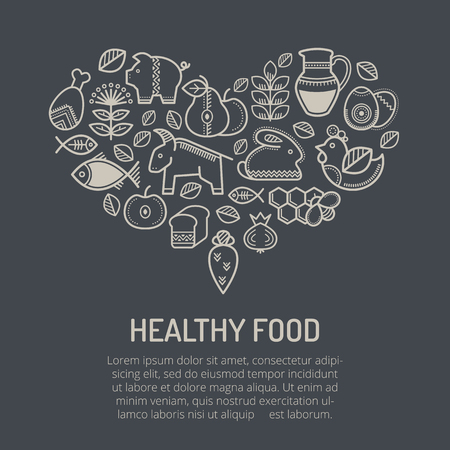 greengrocery: Vector illustration with outlined food icons (cereals, fruits, meat, vegetables, herbs, milk, eggs, fish, honey) in creative ethnic style. Light grey signs on a black background forming a heart shape
