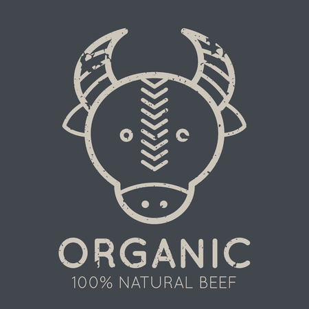 bullock animal: Nutritional emblem with beef meat symbol (cows head) in flat linear ethnic style on a tan background. 100 percent  natural organic meat. Grunge texture