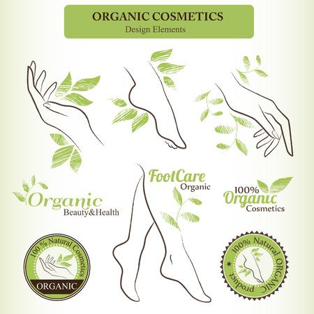 有機化粧品デザイン設定で輪郭を描かれた女 (手、足) の部位し、手の描かれた緑の葉。健康と自然ボディケア製品のバッジ