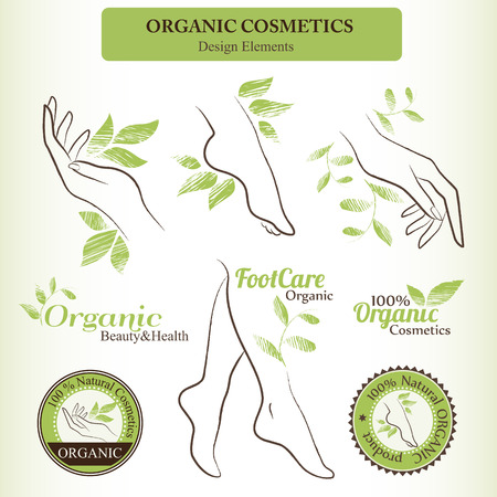 Organic Cosmetics Design Set with contoured female body parts (foot, hand) and hand drawn green leaves. Badges for healthy and natural body care products 矢量图像