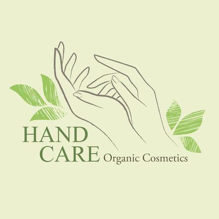 Cosméticos orgánicos elementos de diseño con las manos de la mujer contorneada y dibujados a mano las hojas verdes