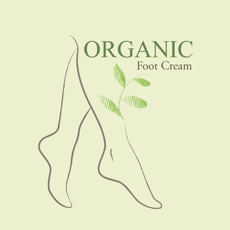 legs woman: Organic Cosmetics Design element with contoured female feet and hand drawn green leaves Illustration