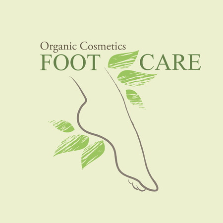 woman foot: Organic Cosmetics Design element with contoured female foot and hand drawn green leaves Illustration