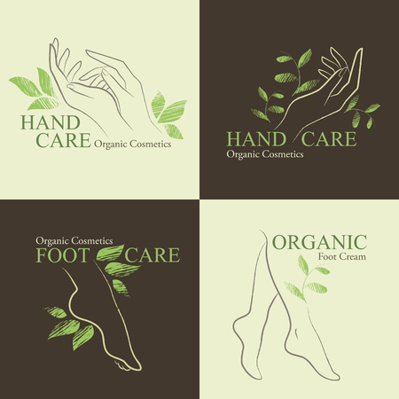 female hands: Set of Organic Cosmetics Design elements with contoured female hands and feet decorated by hand drawn green leaves Illustration