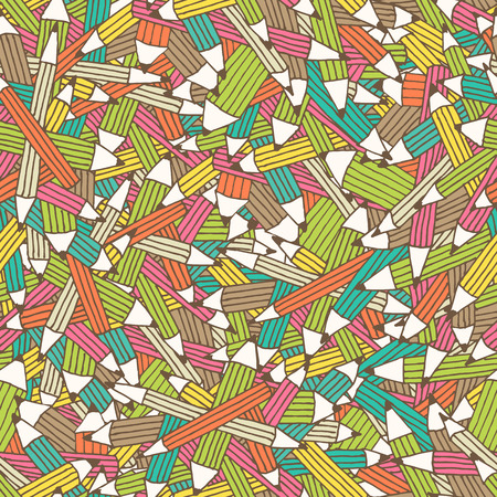 babyish: Seamless pattern with colorfu pencil ornament with irregular structure. Hand drawn style and happy babyish color palette Illustration