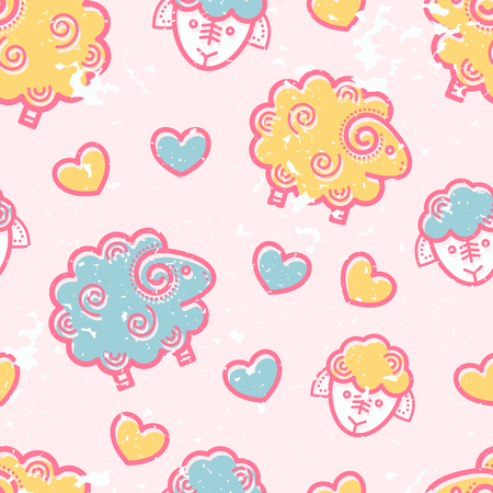 babyish: Seamless pattern with outlined sheep in cute childish style. Happy babyish color palette (pale pink, blue and yellow)
